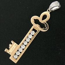 Italiano Grande 18ct Rosa y Blanco Oro corredera 0.36ctw Quilates Diamante llave