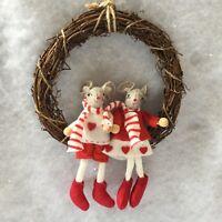 20cm Christmas Felt Mouse Wreath Wicker Mice Decoration Gisela Graham Red White