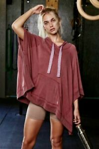 Free People Movement Poncho Squared Up Hoodie Modal Oversized Rust Wine L NWT
