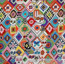 BonEful Fabric FQ Cotton Quilt White Rainbow Red Pink Gothic Skull Skeleton RARE