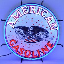 Neon Sign American Standard Eagle Gasoline Gas Pump and Oil Globe garage UL lamp