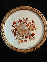 Vtg Nashco Toleware Metal Tray Hand Painted Floral Rose Shabby Chic Round