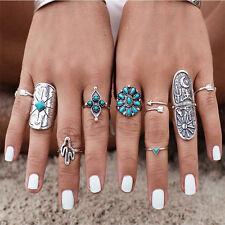 9PCS New Women Ethnic Bohemian Boho Turquoise Open Midi Knuckle Ring Set