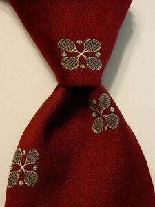 ROBERT TALBOTT Vintage Silk/Dacron Necktie Designer Geometric Burgundy/Gray EUC