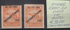 FIUME 1922 COSTITUENTE FIUMANA NUOVI  VARIETA' C. 20 DATA ALTA E STAMPA SPOSTATA