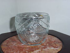 KIG Indonesia Clear Pressed Glass Votive Candle Holders W/ Angels Blowing Horn