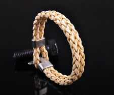 G25 NEW Surfer Double 6mm Braided PU Leather Bracelet Wristband Men's Cuff Beige