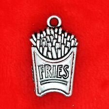 3 x Tibetan Silver Fries Chips Portion Fast Food Charm Pendant Jewellery Making