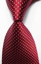 New Classic Checks Red White JACQUARD WOVEN 100% Silk Men's Tie Necktie