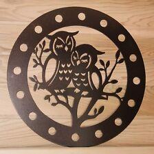 OWL in a Tree WreathMetal Wall Art Owls Hanging Ribbon Plaque Sign Plasma Cut