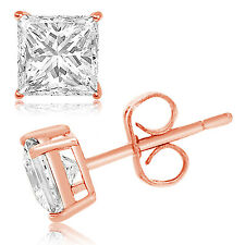Sterling Silver 925 Rose Gold, Black, or Silver Princess Cut CZ Stud Earring