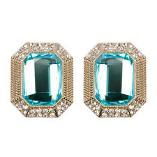 Statement Vintage Earrings Aqua Blue Crystal Stud Gold Antique Square | FREE P&P