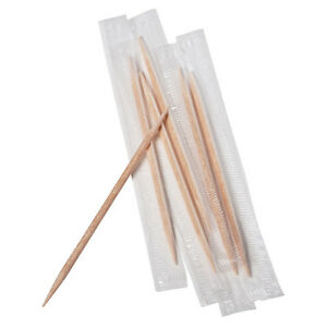 Royal Paper RM115, Mint Wooden Toothpicks, Individually Wrapped, 1000/CS