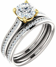 1.33 ct total Round DIAMOND Engagement Solitaire Wedding 14k two-tone Gold Ring