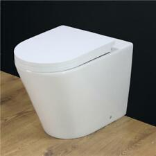 Toilet WC Back to Wall Ceramic Bathroom Heavy Duty Square Soft Close Seat B4