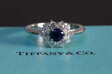 Tiffany Platinum Diamond Sapphire Solitaire Flower Engagement Ring 1ct £9k Rrp