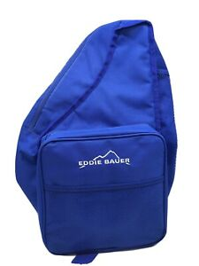 Eddie Bauer Blue Picnic Bag Backpack Wine Glass Plate Utensils Opener Insulated