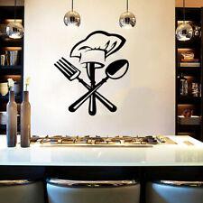 Cutlery fork chef hat Wall Sticker for Kitchen restaurant Mural Decals ji