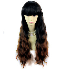 Wiwigs Wonderful Long Wavy Black Brown & Red Dip-Dye Ombre Ladies Wig