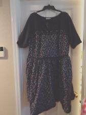 Women's Plus Size eShakti Dress, Size 5X 32W -- Navy Blue with Red Birds