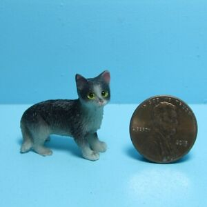 Dollhouse Miniature Small Black and White Cat Standing IM65488