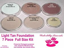 7 Pc Lot Light Tan Minerals Bare Makeup Foundation Kit #3 Full Sizes New/Sealed