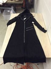 Necessary Evil L Black Gothic Style MenS HOODED Trench Coat FULL LENGTH NWT B-7