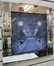 Black & white street lights winter scene Picture with crystals & Mirror Frame