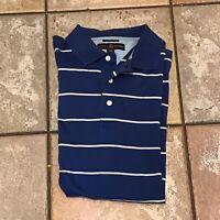 Vintage Tommy Hilfiger Blue/White Striped Golf Polo Men's Shirt Size Large