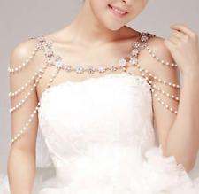 Wedding Bridal Rhinestone Crystal Pearl Silver Chain Shoulder Halter Necklace