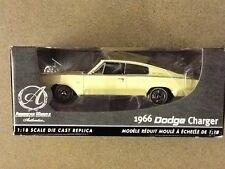 ERTL 1/18 AMERICAN MUSCLE  AUTHENTICS 1966 YELLOW DODGE CHARGER ITEM # 39082 F/S
