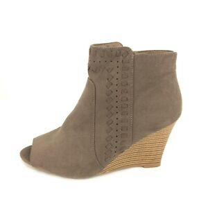 Report Ankle Boots Womens 7 Brown Faux Suede Fabric Wood Wedge Heel Open Toe