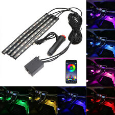 4x LED RGB Car Interior Multicolor Atmosphere Footwell Strip Light APP Control