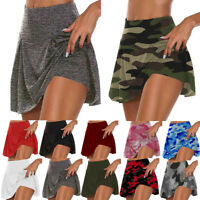 Womens Athletic Pleated Tennis Golf Skirt with Shorts Workout Running Skorts HOT