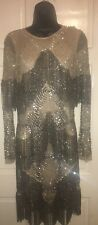 TOPSHOP BOUTIQUE  SILVER EMBELLISHED BEADED BODYCON DRESS  UK 8 EUR 36 US 4 RARE