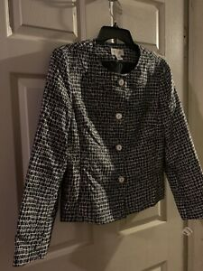 NWT Talbots Size 10 Black And White Patterned Button Up Silk & Wool Blazer