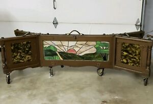 1930 Coffin Bier Funeral Illuminated Lighted Stained Glass Art Deco Coffin Stand