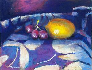 Rick Stoner Lemon and Grapes Hand Signed Original Pastel Drawing Still Life OBO