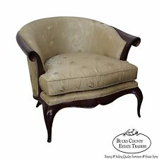 High Quality Classic Modern Regency Mahogany Gilt Accent Barrel Back Club Chair