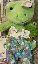 Build A Bear Spring Green Frog with Certificate, Box, Clothes, Snap Bracelet New