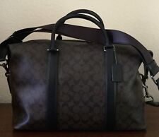 COACH F54776 Signature Voyager Men's Duffle Gym Travel Bag Brown Black/Black NWT