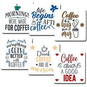 Coffee Quotes Coasters Set of 6 Mug Coffee Tea Wine Drink Gift MDF