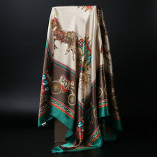 Women Vintage Carriage Printed Scarf Soft Satin Square Shawl Hijab Wraps 90x90cm