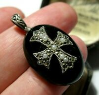 Vintage Style STERLING SILVER Victorian Revival Onyx Marcasite Cross PENDANT