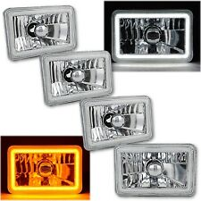 "4x6"" Switchback White DRL Halo / Amber LED Turn Signal Headlight Lamp Set of 4"