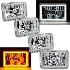"4x6"" Switchback White DRL Halo / Amber LED Turn Signal Headlight Lamp Set of 4"