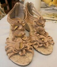 KRUSH  womens nutural gladiator style back zip wedge heel sandals size 4