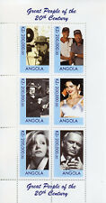 Angola MNH Madonna Sinatra Churchill Tiger Woods Charlie Chaplin 6v M/S Stamps