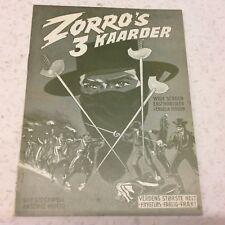 Le tre spade di Zorro Guy Stockwell Prieto 1963 Danish Original Movie Program