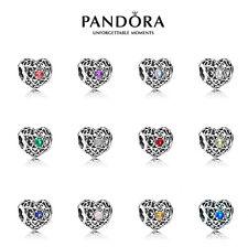 Genuine Pandora Signature Heart BIRTHSTONE Charm Moments Bead 12 Months